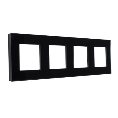 plaque-verre-quatre-postes-noir-ou-blanc