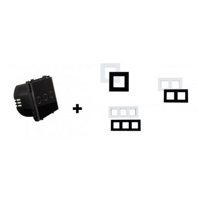 interrupteur tactile triple allumage verre noir ou blanc a composer