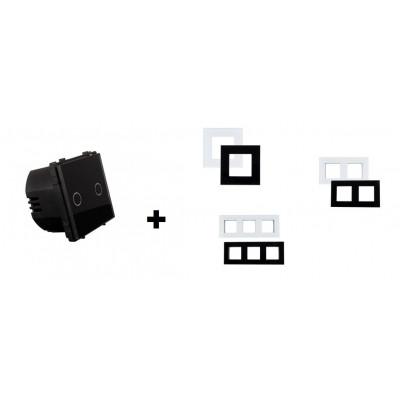 interrupteur double va et vient tactile verre noir ou blanc a composer