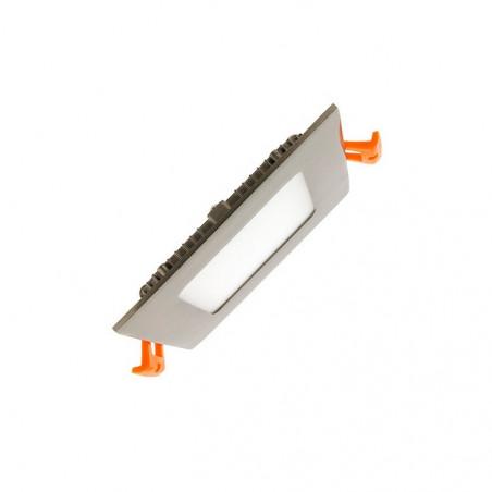 extra plat downlight dalle 6w led encastrable carré inox gris 400 lumens
