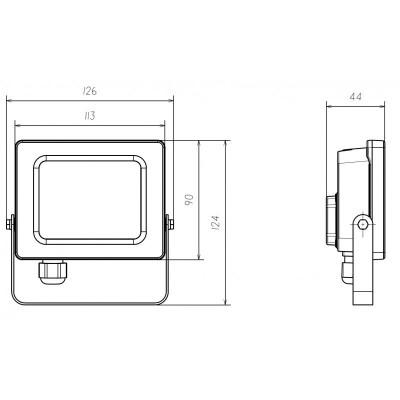 projecteur-led-10w-noir-avec-connecteur-direct-cable-presse-etoupe-ip65-878-lumens-cct
