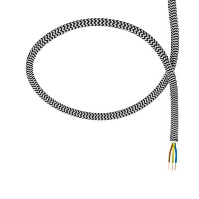 câble cordon tissu tressé corde textile noir et blanc au mètre