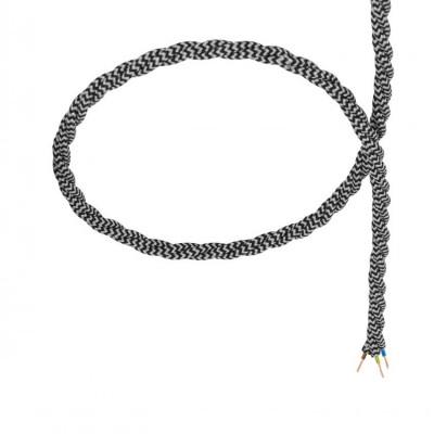 câble cordon tissu corde textile tressé noir et blanc au mètre