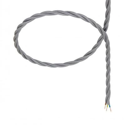 câble cordon tissu corde textile tressé gris au mètre