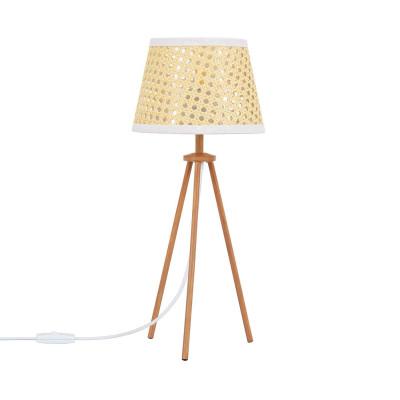 lampe sur pied abat-jour tressé culot e27 pied bois