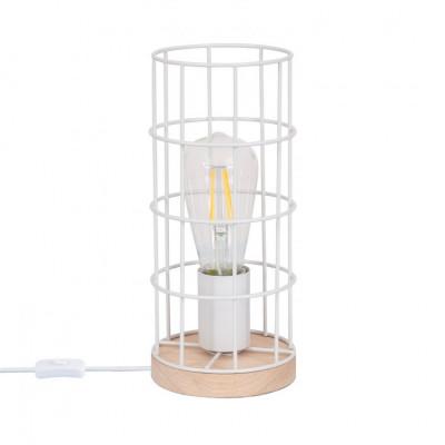 lampe-de-table-bois-grille-blanche-vintage-culot-e27