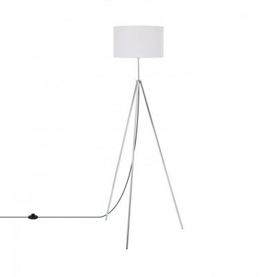 lampadaire sur pied 150cm aluminium abat-jour blanc culot e27