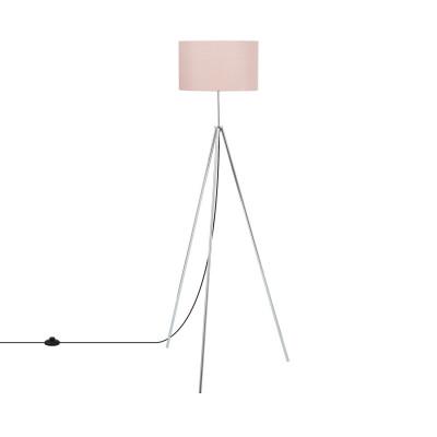 lampadaire sur pied 150cm aluminium abat-jour rose culot e27
