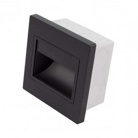 Spot de balisage à 1.5w LED d'escalier mur encastrable noir