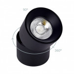 Applique plafonnier 15w led rond noir orientable saillie