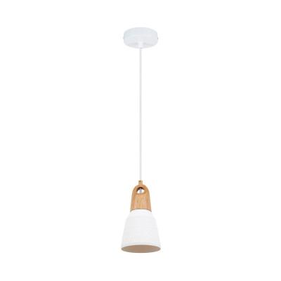 Suspension luminaire suspendu céramique blanche et bois culot e27