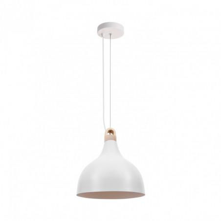 Suspension luminaire suspendu culot e27 aluminium blanc et bois