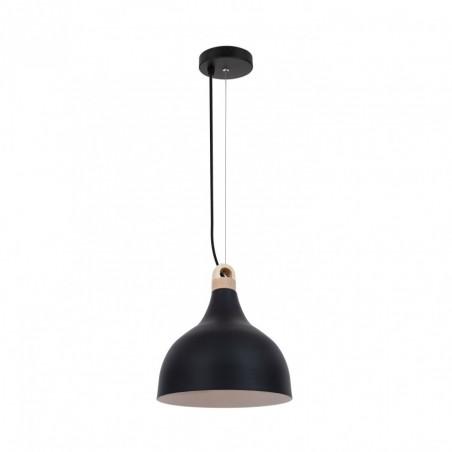 Suspension luminaire suspendu culot e27 aluminium noir et bois