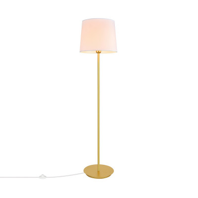 lampadaire 155cm sur pied doré abat-jour culot e27