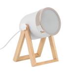 Lampe de table pied bois et métal blanc-culot e14