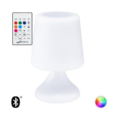 Lampe de table rechargeable rgbw avec haut parleur bluetooth ip44