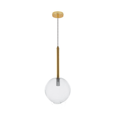 Suspension luminaire suspendu verre et acier doré culot g9