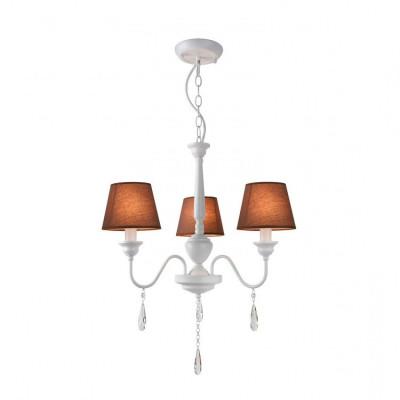 Lustre suspension luminaire suspendu blanc 3 tetes marron culot e14