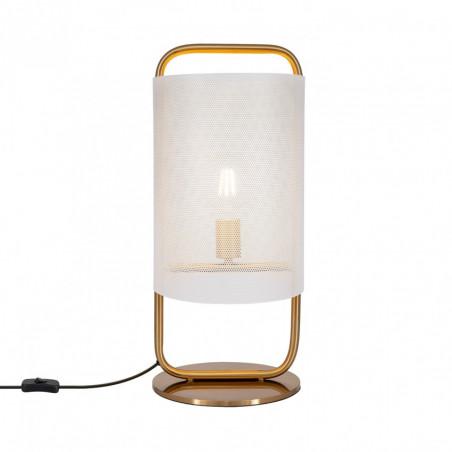 lampe de table metal doré culot e27 style abat-jour blanc