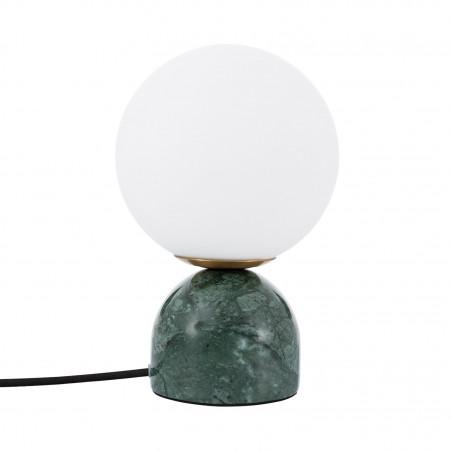 Lampe de table socle vert boule verre blanc culot g9