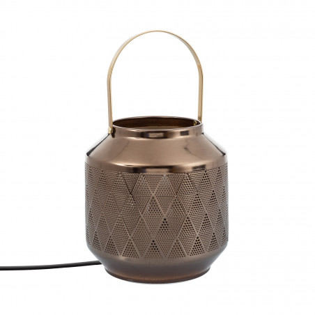 Lampe de table pied a poser culot e14 style lanterne