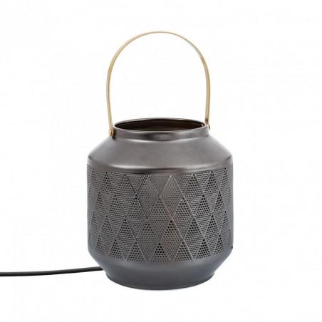 Lampe de table pied gris a poser culot e14 style lanterne grise