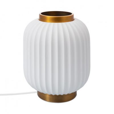 Lampe de table céramique blanche culot e14 socle bronze