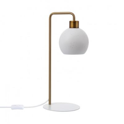 Lampe de table céramique blanche culot e27 pied blanc et bronze