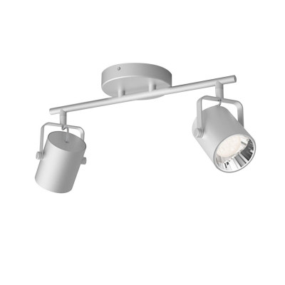Applique plafonnier 4.3w led double tetes gris orientable saillie