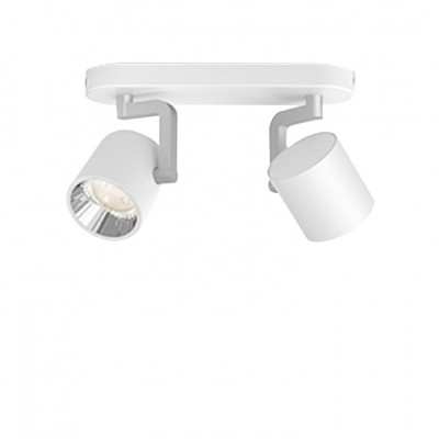 Applique plafonnier 8.6w led double tetes blanc orientable saillie