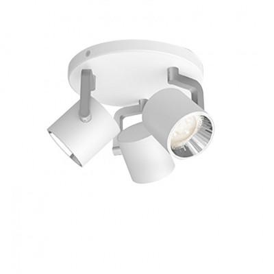 Applique plafonnier 13w led triple tetes blanc orientable saillie