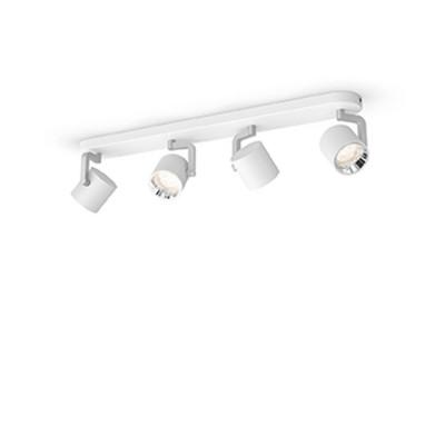 Applique plafonnier 18w led quatre tetes blanc orientable saillie