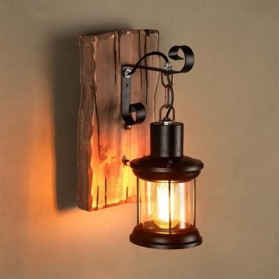 Applique murale noire culot e27 effet lanterne retro bois et métal