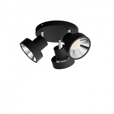 Applique plafonnier Philips 12.9w led triple têtes orientable noir saillie
