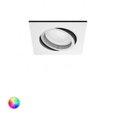 Spot encastrable carré blanc Philips Hue rgbw 6w led