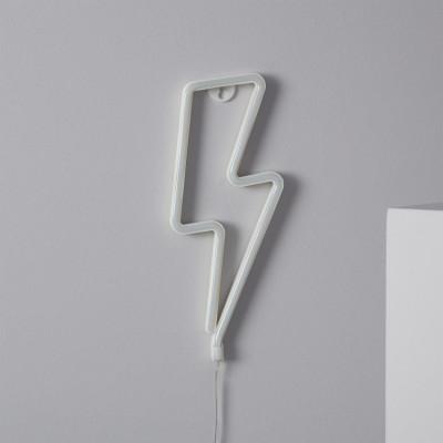 Lampe néon led sur piles forme éclair foudre blanc