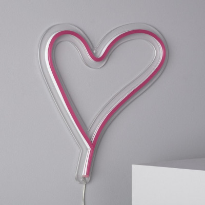 Lampe néon led sur secteur forme cœur rose tableau ip44