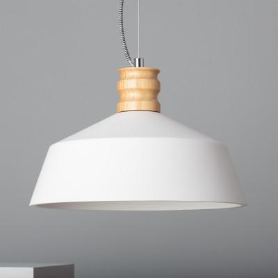 Plafonnier suspension cloche culot e27 blanc et bois