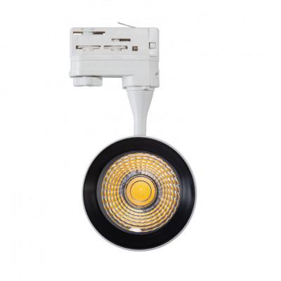 Projecteur led 30w blanc-24°-cri 80-3000lm-rail 3 allumages boutiques commerces