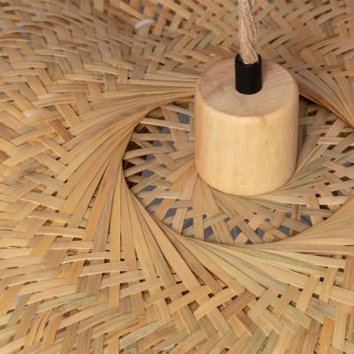 Suspension bambou culot e27 base bois suspendu 60cm