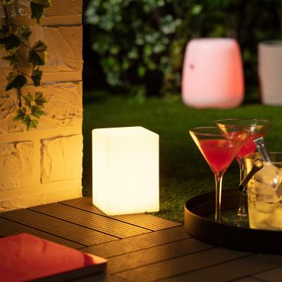 Lampe a poser cube étanche rgb couleurs télécommande extérieur rechargeable nomade lumineux