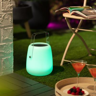 Lampe a poser solaire étanche rgb couleurs télécommande extérieur rechargeable nomade lumineux