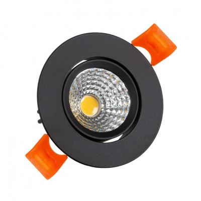 Encastrable 5w rond orientable noir 55mm-450 lumens