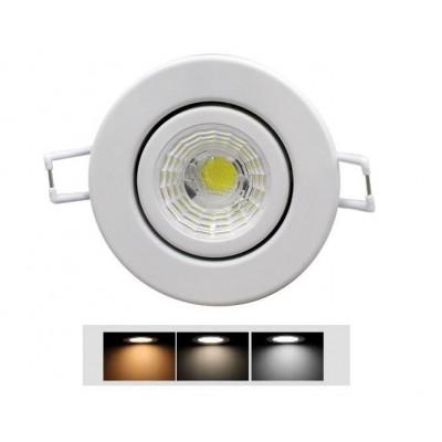 Spot encastrable 7w led rt2012 ip65 variable recouvrable rond fixe 85mm blanc-bbc-sélectionneur température