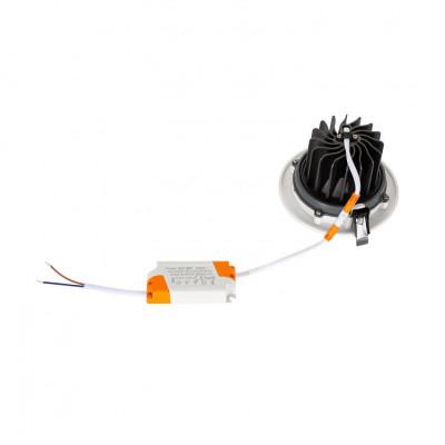 Encastrable 18w rond orientable blanc et gris 120mm-1500 lumens-6000k
