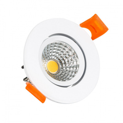 Encastrable led 5w rond blanc orientable 70mm-400 lumens