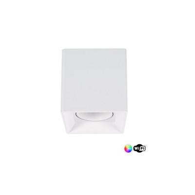 Plafonnier blanc wifi carré rgbw 4w led saillie
