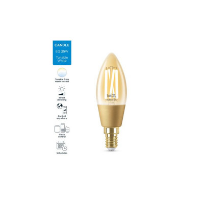 Ampoule 5w e14 filament led cct verre doré variable Bluetooth wizmote wifi wiz Philips