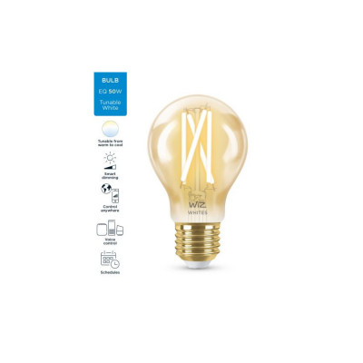 Ampoule e27-7w filament led cct verre doré variable Bluetooth wizmote wifi wiz Philips