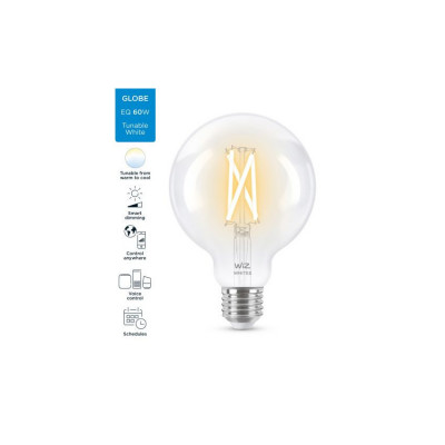 Ampoule e27 globe 95mm-7w filament led cct variable Bluetooth wizmote wifi wiz Philips